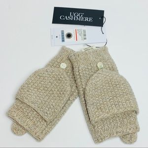 NWT UGG Oatmeal Heather Cashmere Flip Mittens OS